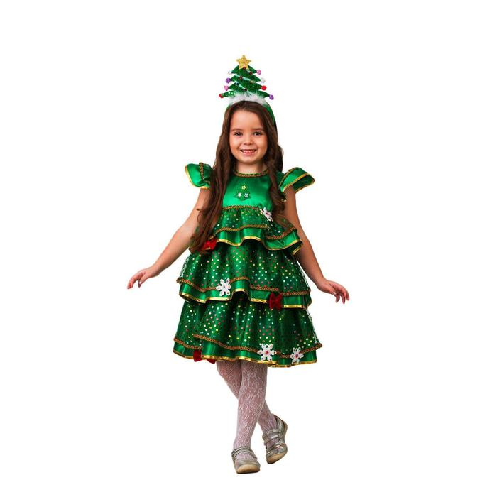 Карнавальный костюм «Ёлочка-малышка», платье, ободок-ёлочка, сатин, р. 32, рост 128 см - фото 282130100