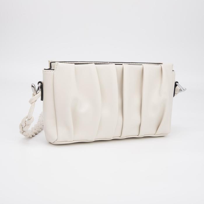 Кросс-боди, отдел на молнии, наружный карман, длинный ремень, цвет молочный - фото 282130380