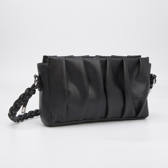 Кросс-боди, отдел на молнии, наружный карман, длинный ремень, цвет чёрный - фото 282130383