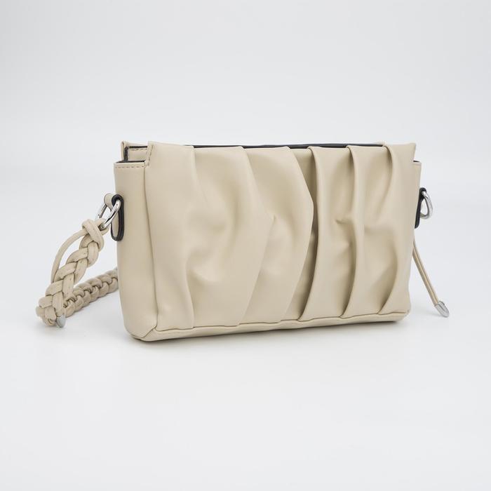 Кросс-боди, отдел на молнии, наружный карман, длинный ремень, цвет бежевый - фото 282130386