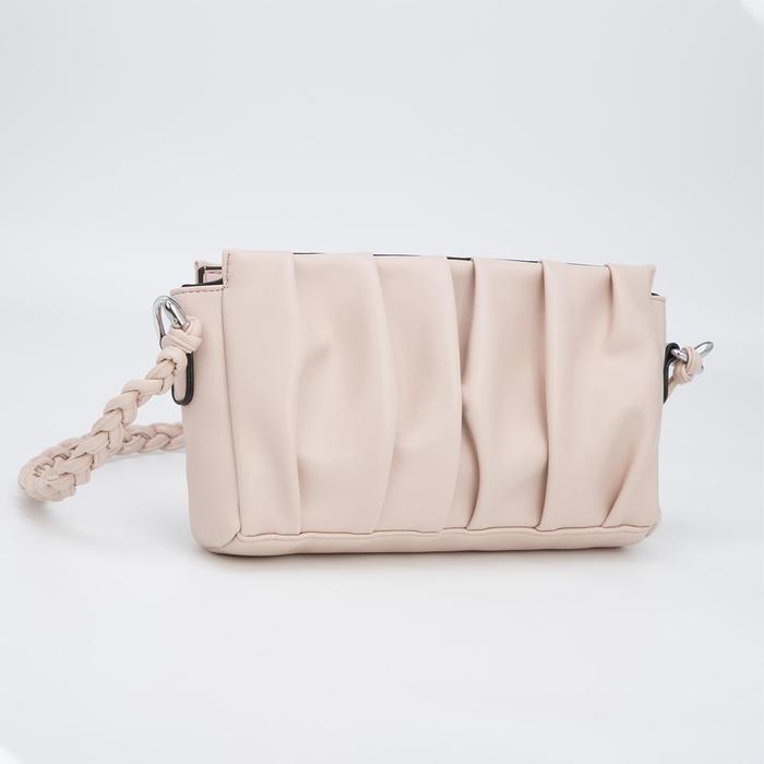 Кросс-боди, отдел на молнии, наружный карман, длинный ремень, цвет светло-розовый - фото 282130389