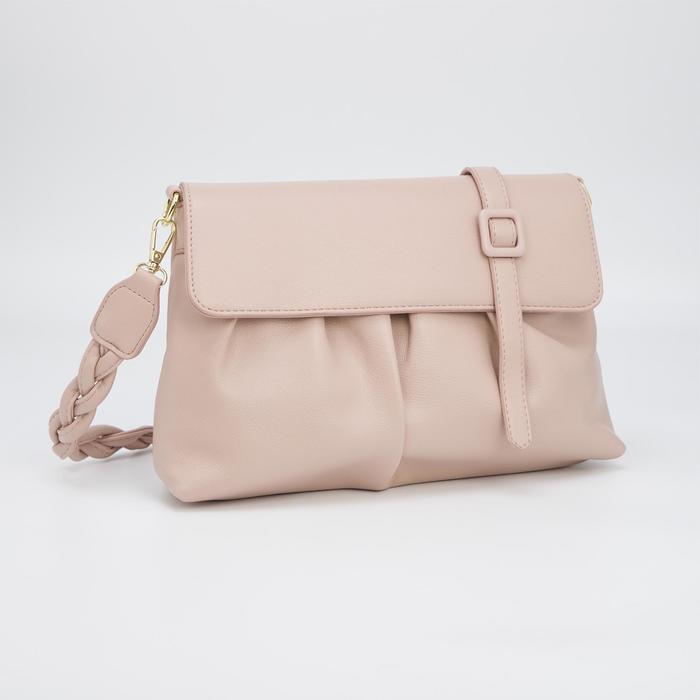 Сумка-багет, отдел на молнии, длинный ремень, цвет розовый - фото 282130396