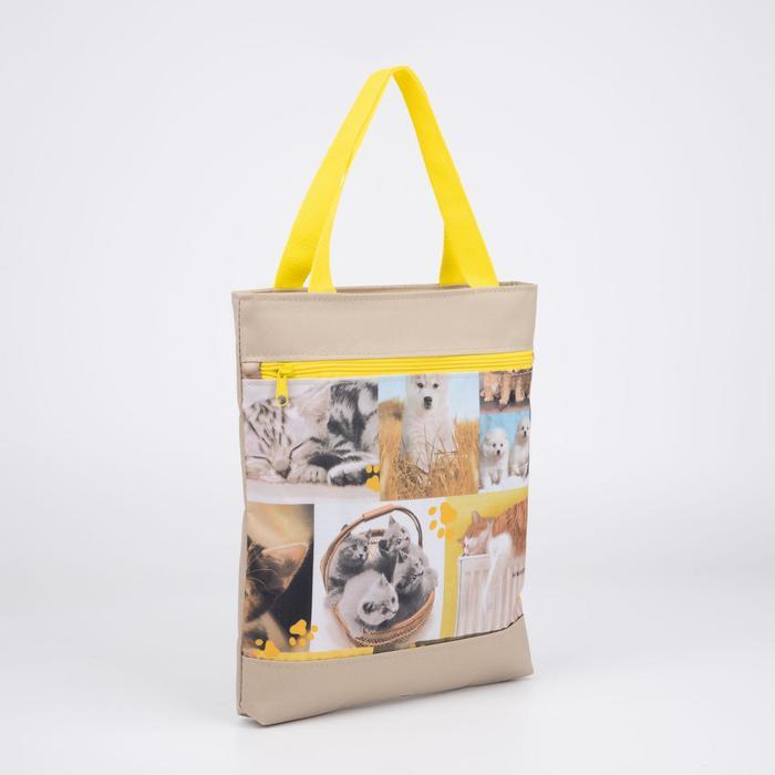 Сумка-шопер, отдел на молнии, подклад, наружный карман, цвет бежевый, «Кошки» - фото 282130414