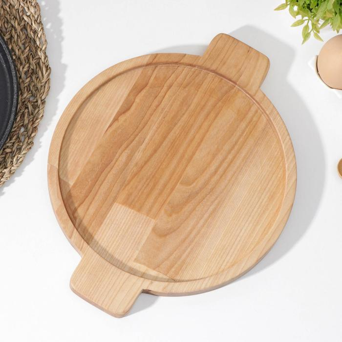 Подставка для сковороды Доляна, 30×24×1,8 см, внутренний диаметр d=22 см, берёза - фото 282130512