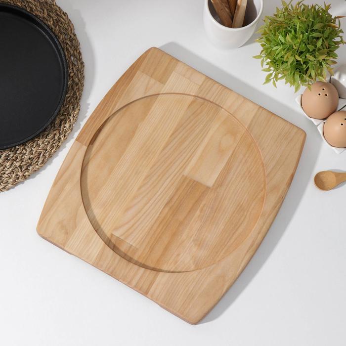 Подставка для сковороды Доляна, 32×26×1,8 см, внутренний диаметр d=24 см, с потайными ручками, берёза - фото 282130517