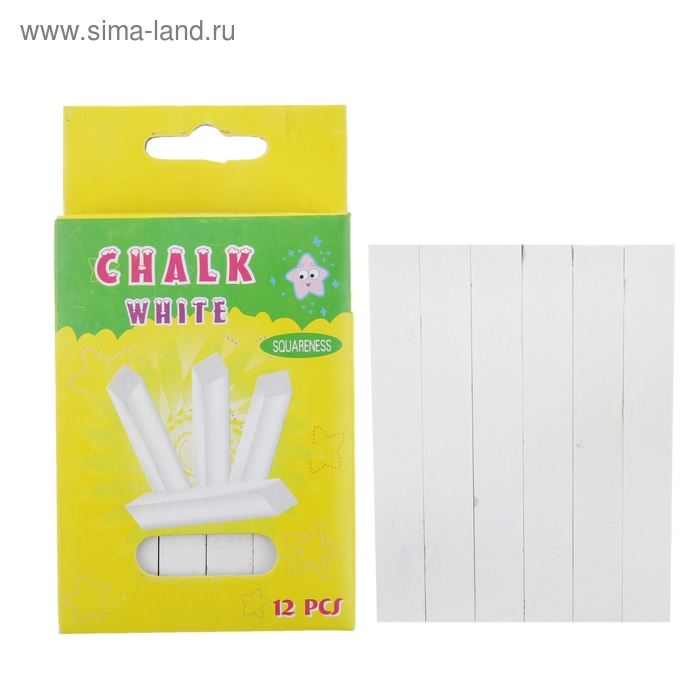 Мел школьный белый набор 12шт квадратный беспыльный в картон коробке