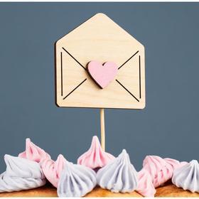 """Топпер деревянный """"Любовное послание"""" с аппликацией, розовый, 7,8х7,8 см"""