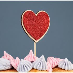 """Топпер деревянный """"Сердце"""", блестящий, красный, 7,5х7,1 см"""