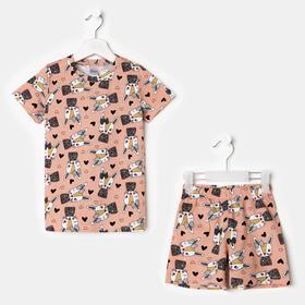 Пижама для девочки, цвет персик, рост 104 см