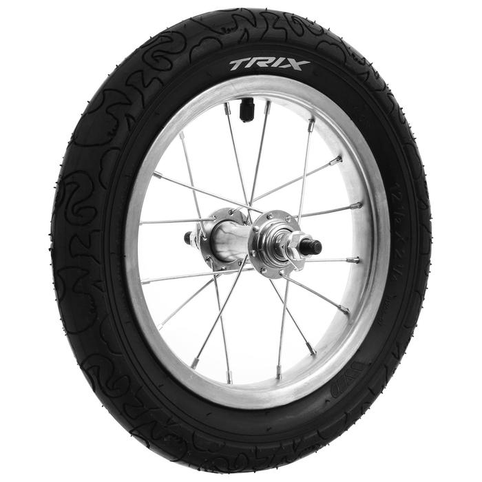 """Колесо 12"""" переднее TRIX, стальной хромированный обод, камера, покрышка Trix - фото 282131442"""