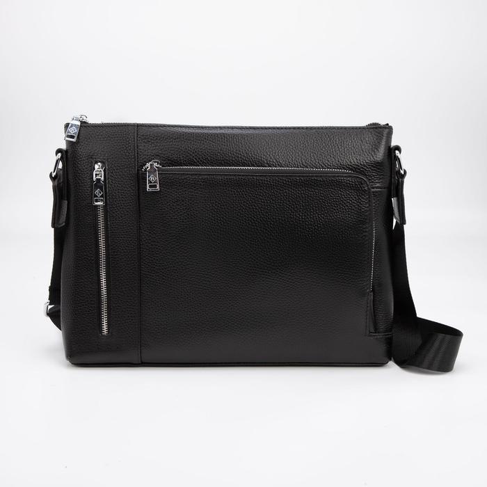 Сумка деловая, отдел на молнии, 3 наружных кармана, регулируемый ремень, цвет чёрный - фото 282131633