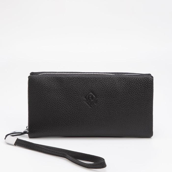 Клатч, отдел на молнии, с ручкой, цвет чёрный - фото 282131647