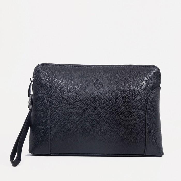 Клатч, отдел на молнии, наружный карман, с ручкой, цвет чёрный - фото 282131653