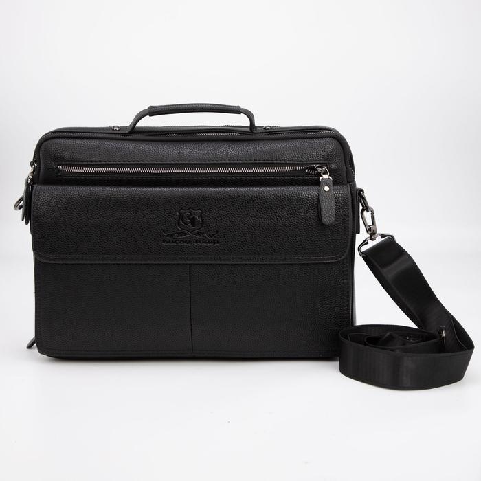 Сумка деловая, 2 отдела на молниях, 3 наружных кармана, регулируемый ремень, цвет чёрный - фото 282131693