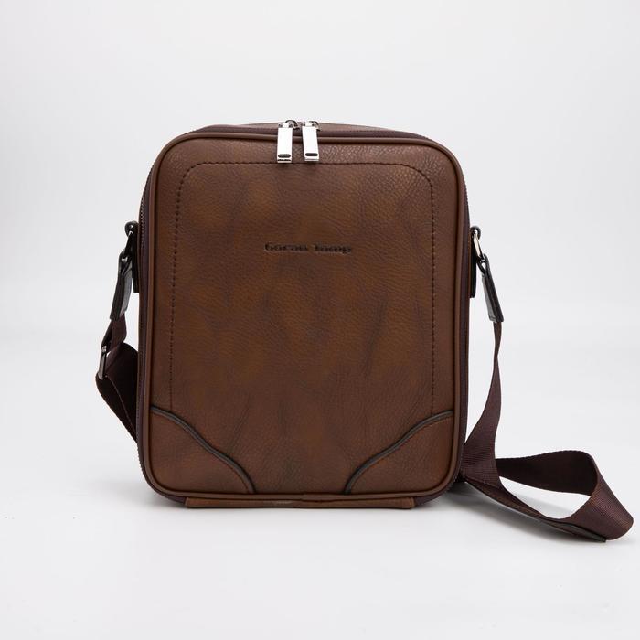 Планшет мужской, 2 отдела на молниях, наружный карман, регулируемый ремень, цвет коричневый - фото 282131696
