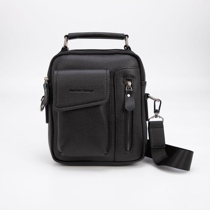 Планшет мужской, 2 отдела на молниях, 3 наружных кармана, регулируемый ремень, цвет чёрный - фото 282131716