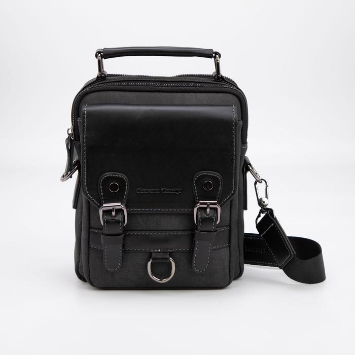 Планшет мужской, 2 отдела на молниях, 3 наружных кармана, регулируемый ремень, цвет чёрный - фото 282131719