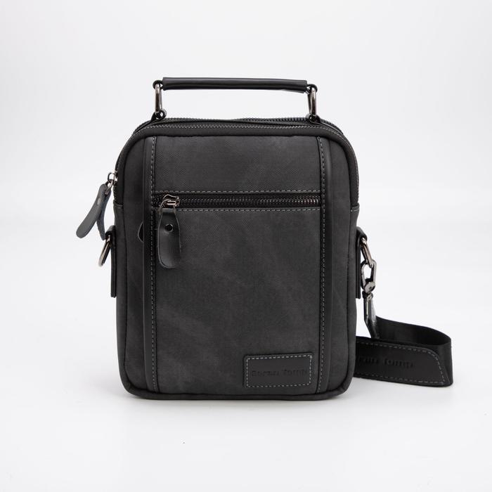 Планшет мужской, 2 отдела на молниях, 2 наружных кармана, регулируемый ремень, цвет чёрный - фото 282131731