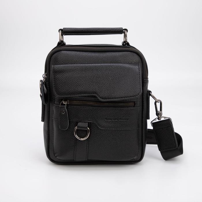 Планшет мужской, 2 отдела на молниях, 3 наружных кармана, регулируемый ремень, цвет чёрный - фото 282131737