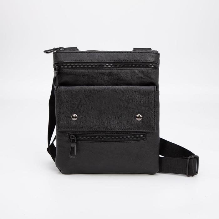 Планшет мужской, отдел на молнии, 3 наружных кармана, регулируемый ремень, цвет чёрный - фото 282131740