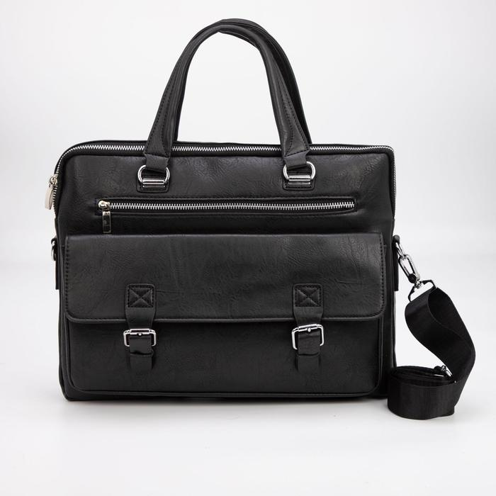 Сумка деловая, отдел на молнии, 3 наружных кармана, длинный ремень, цвет чёрный - фото 282131761