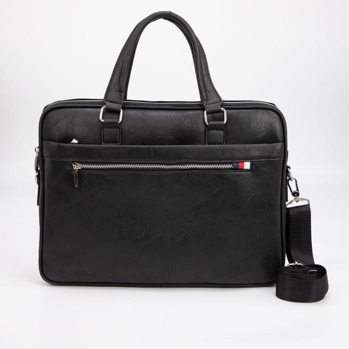 Сумка деловая, отдел на молнии, 3 наружных кармана, длинный ремень, цвет чёрный - фото 282131767