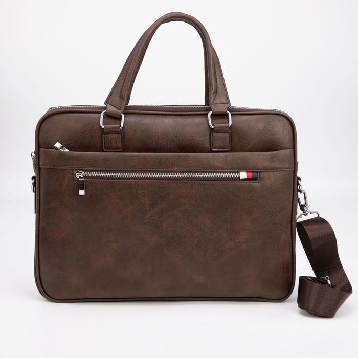 Сумка деловая, отдел на молнии, 3 наружных кармана, длинный ремень, цвет коричневый - фото 282131770