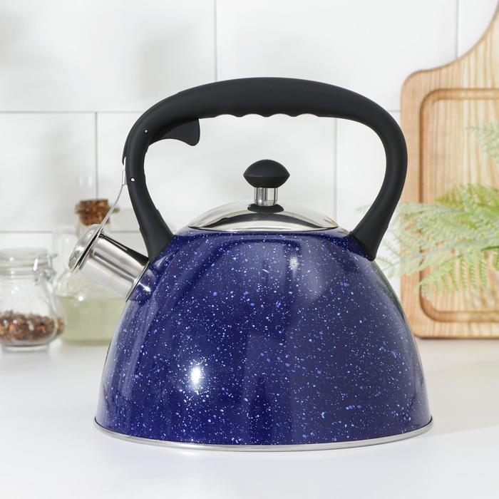 Чайник со свистком Доляна «Космос», 3 л, цвет синий - фото 282131910