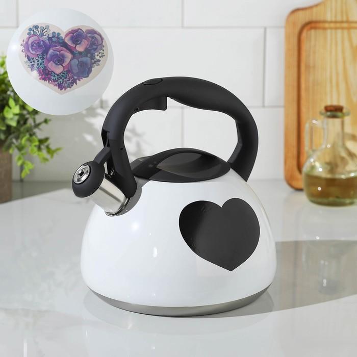 Чайник со свистком Доляна «Сердце», 3 л, с индикатором нагрева - фото 282131932
