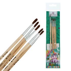 Набор кистей Пони 5 штуки, Attomex Unicorn (круглые №: 1,2,3,4,5) ручка дерево