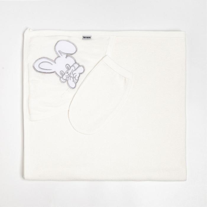 Пелёнка с уголком 90x90 + рукавичка Зайка молочный, махра 170 г/м хлопок 100% - фото 282132276
