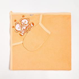 Пелёнка с уголком 90х90 + рукавичка Мишки персиковый, махра 170 г/м хлопок 100%