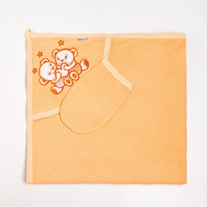 Пелёнка с уголком 90х90 + рукавичка Мишки персиковый, махра 170 г/м хлопок 100% - фото 282132286
