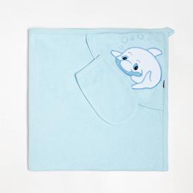 Пелёнка с уголком 90х90 + рукавичка Синий дельфиненок, махра 170 г/м хлопок 100%