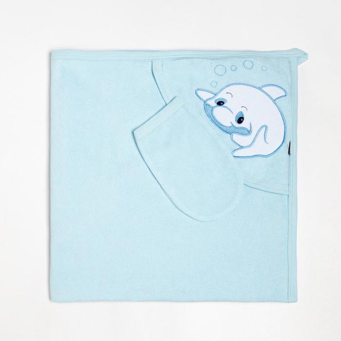Пелёнка с уголком 90х90 + рукавичка Синий дельфиненок, махра 170 г/м хлопок 100% - фото 282132296