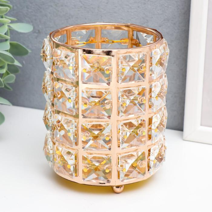 "Подсвечник металл, стекло на 1 свечу ""Кристаллы и цилиндр"" золото 12х10х10 см - фото 282132326"