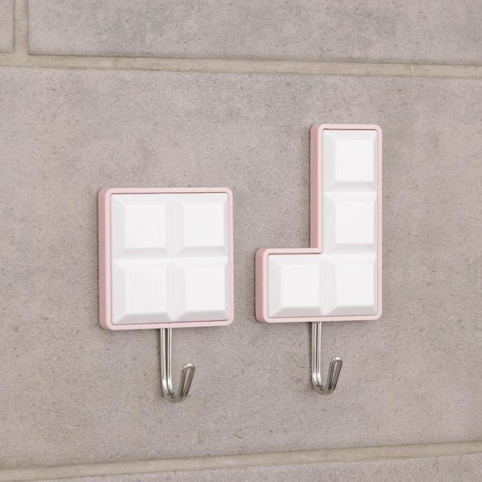 Набор крючков на липучке «Тетрис», 2 шт, цвет и форма МИКС - фото 282132360