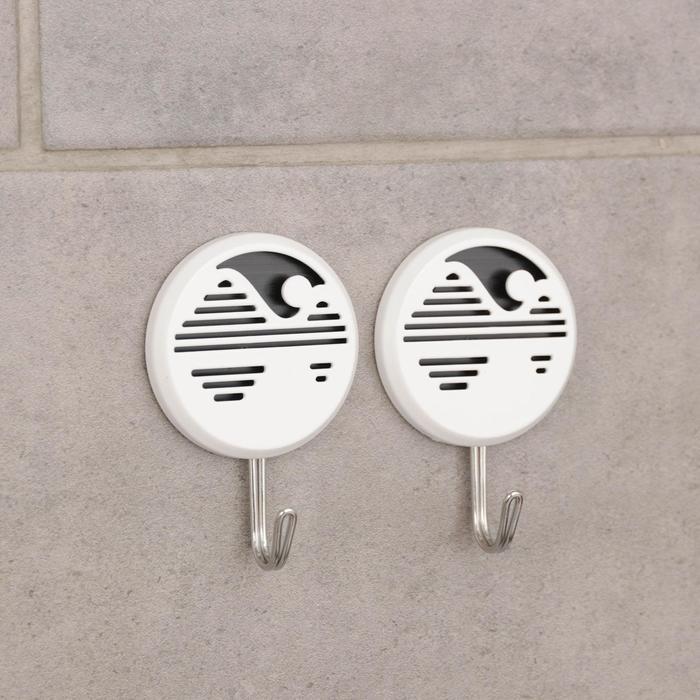 Набор крючков на липучке «Горизонт», 2 шт, цвет и форма МИКС - фото 282132368