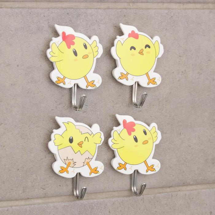 Набор крючков на липучке «Цыплята», 4 шт, цвет и форма МИКС - фото 282132379