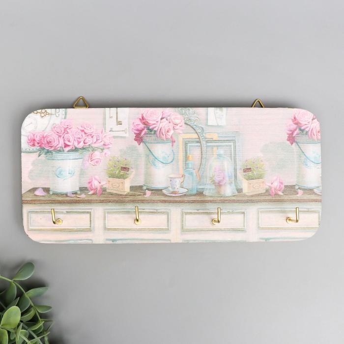 """Ключница массив """"Розовые цветы"""" 11,5х26 см - фото 282132401"""