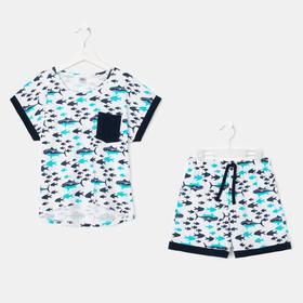 Пижама для девочки, цвет белый/синий, рост 116-122 см