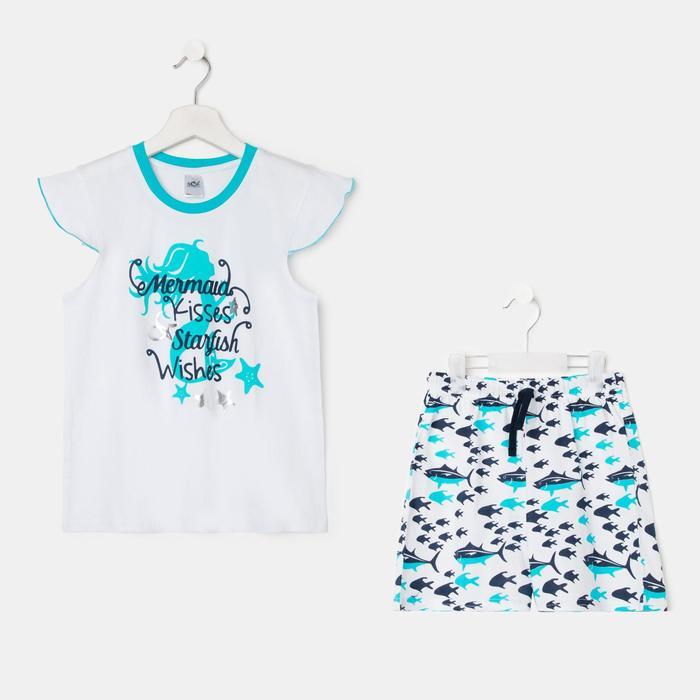 Пижама для девочки, цвет белый/голубой, рост 122-128 см - фото 282132498