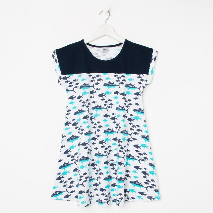 Сорочка для девочки, цвет белый/синий, рост 140-146 см - фото 282132531
