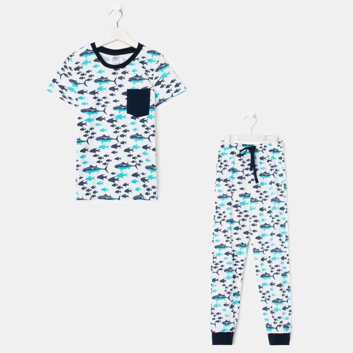 Пижама для мальчика, цвет белый/голубой, рост 122-128 см - фото 282132561