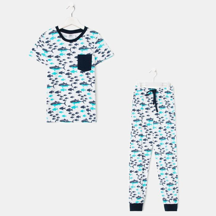 Пижама для мальчика, цвет белый/голубой, рост 128-134 см - фото 282132564