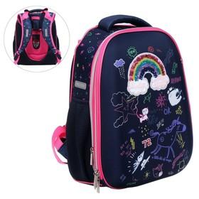 Рюкзак каркасный deVENTE Choice 38 х 28 х 16 см, Rainbow, синий/розовый