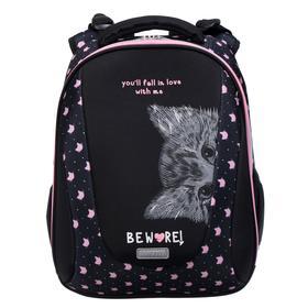 Рюкзак каркасный deVENTE Sharp 37 х 30 х 18, Hidden Cat, чёрный/розовый