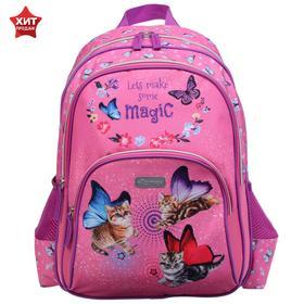 Рюкзак школьный эргономичная спинка, Attomex Basic 38 х 32 х 18, Fairy Cats, розовый