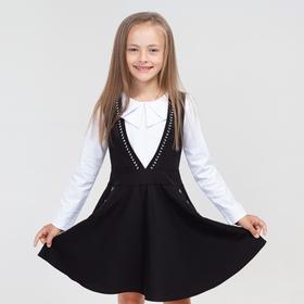 Школьный сарафан для девочки, цвет чёрный, рост 122 см