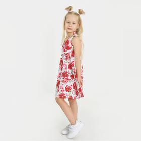 Сарафан для девочки, цвет красный/белый, рост 116 см